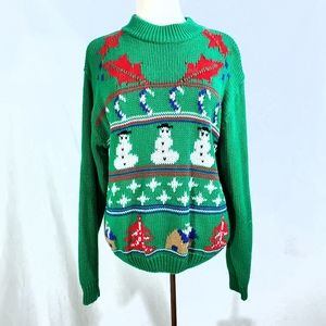 Vintage Snowman Ugly Christmas Green Sweater